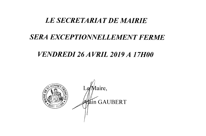 FERMETURE MAIRE
